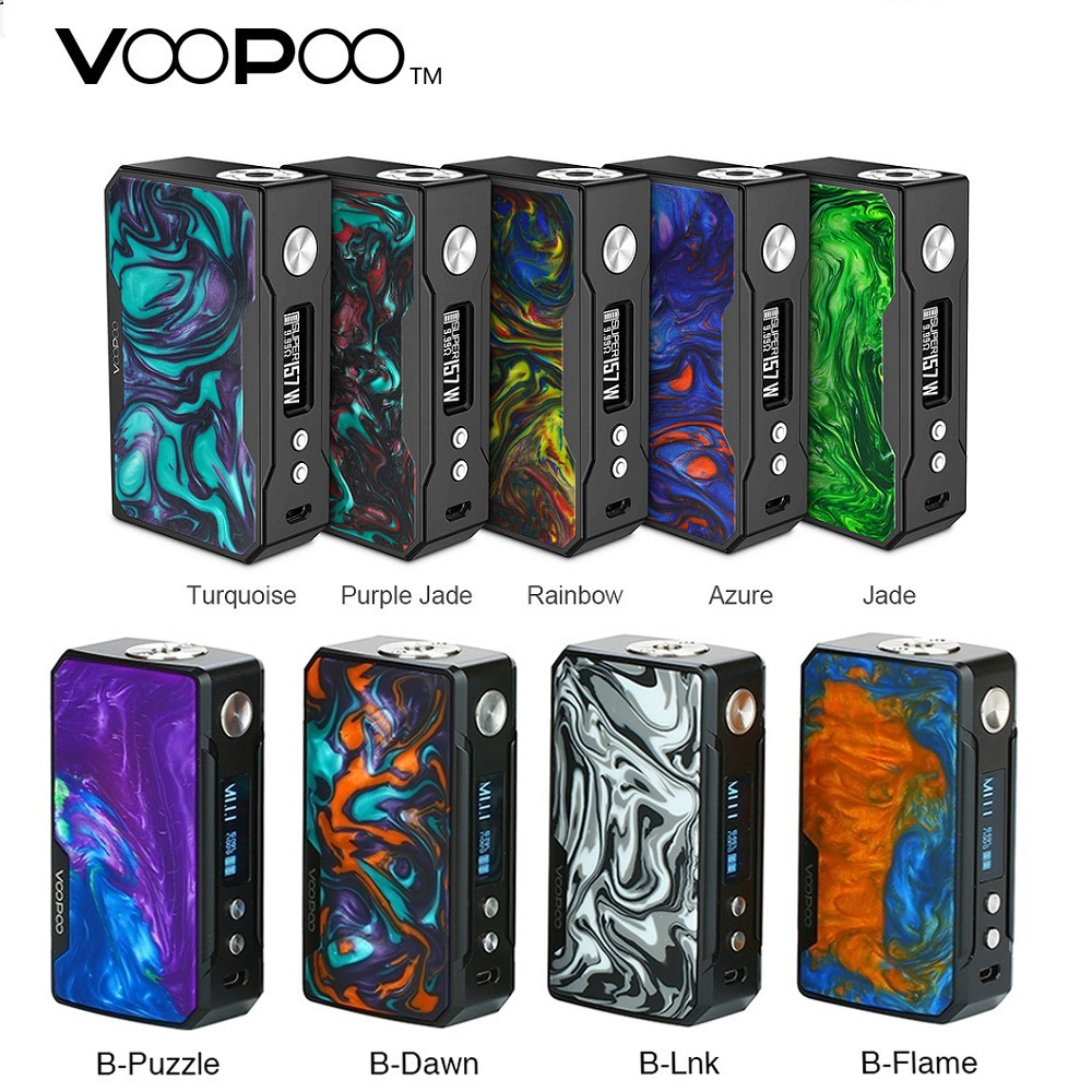 Hot VOOPOO glisser 2 boîte Mod 177 W vs VOOPOO noir glisser résine Mod 157 W puissance par 18650 batterie Mod boîte Vs glisser 157 W/Shogun/Luxe