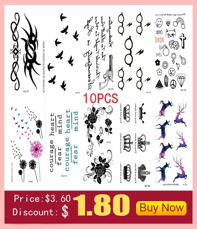 10 PCS 1 Lot Fashion Men And Women Tattoo Lovely butterfly diamond Bird Owl Body Art Flash Waterproof Temporary Tattoos Stickers 7