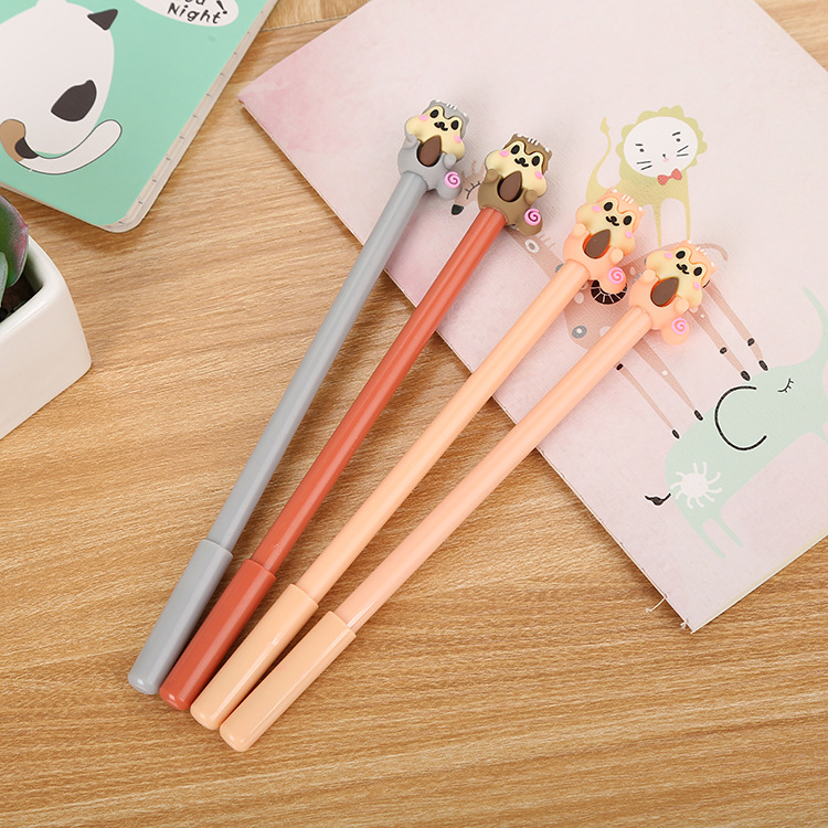 24 Pcs Creative Cartoon Squirrel Neutral Pen Cute Learning Stationery Silicone Head Water-based Signature Pen
