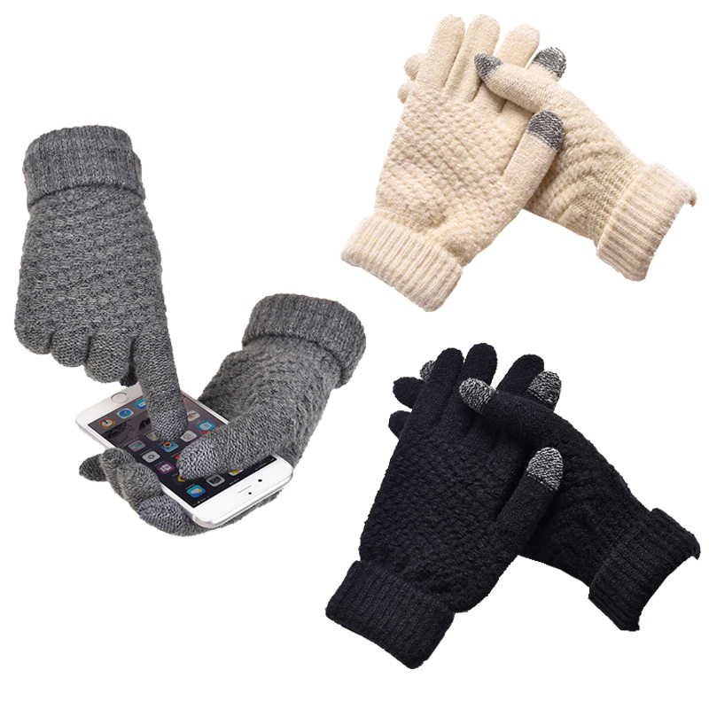 Gran oferta guantes de punto mujeres hombres chico grueso cálido invierno guantes con dedos completos estiramiento femenino Crochet lana sólida pantalla guantes