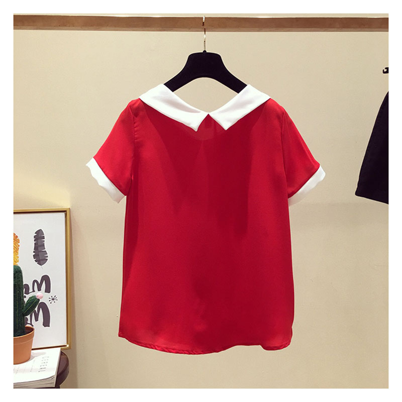 Women Spring Summer Cute Chiffon   Blouses     Shirts   Lady Casual Peter pan Collar Short Sleeve Beading Blusas Tops DD1797