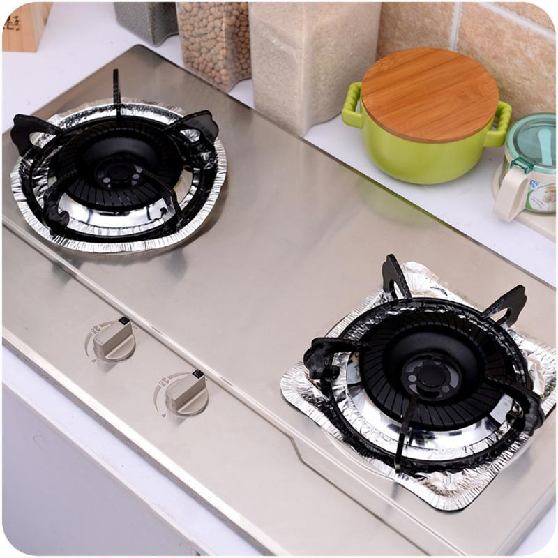 10 * Thickened Aluminum Foil Round Stove Burner Covers Gas Oven Covers For  Top Gas Stove Liners Oil Proof Cleaning Pad