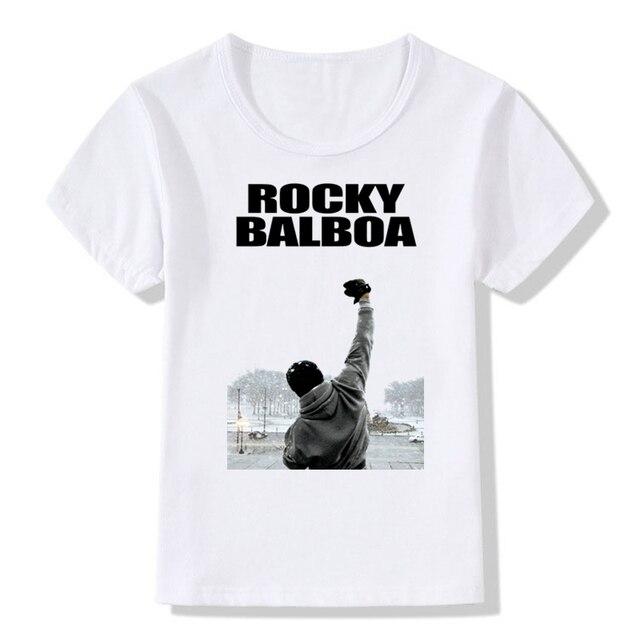 f13b102b00a Boys Girls Print ROCKY BALBOA T-shirt Children Fashion Sylvester Short  Sleeve T shirt Kids Cool Tops Baby Clothes