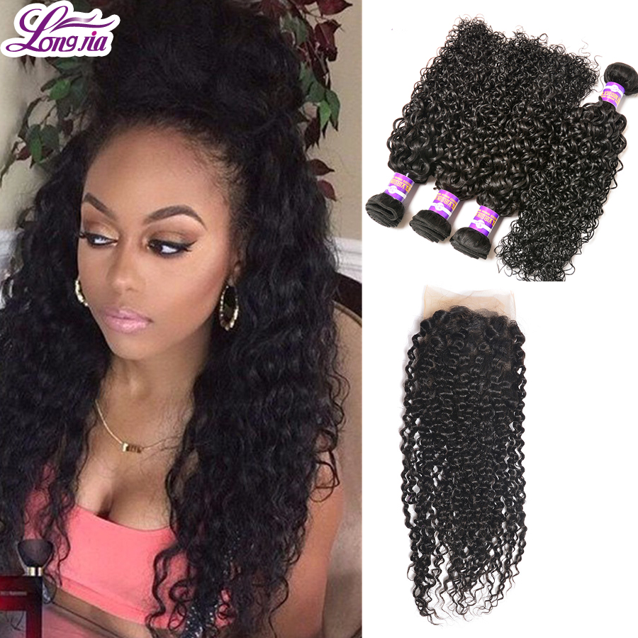 Grade 7A Peruvian Kinky Curly Virgin Hair Rosa Queen Hair Products 4Bundles With  4x13 Lace Closure Human Hair Extensions