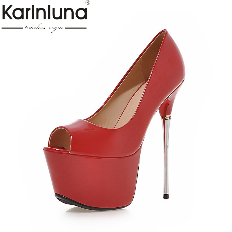KarinLuna New Big Size 32-43 Peep Toe Summer Party Shoes Women 7 Colors Sexy 16cm Thin High Heels Fashion Red Pumps Shoes enmayer summer women pumps shoes mixed colors peep toe slip on thin heels platform large size 34 47 red pink green brown