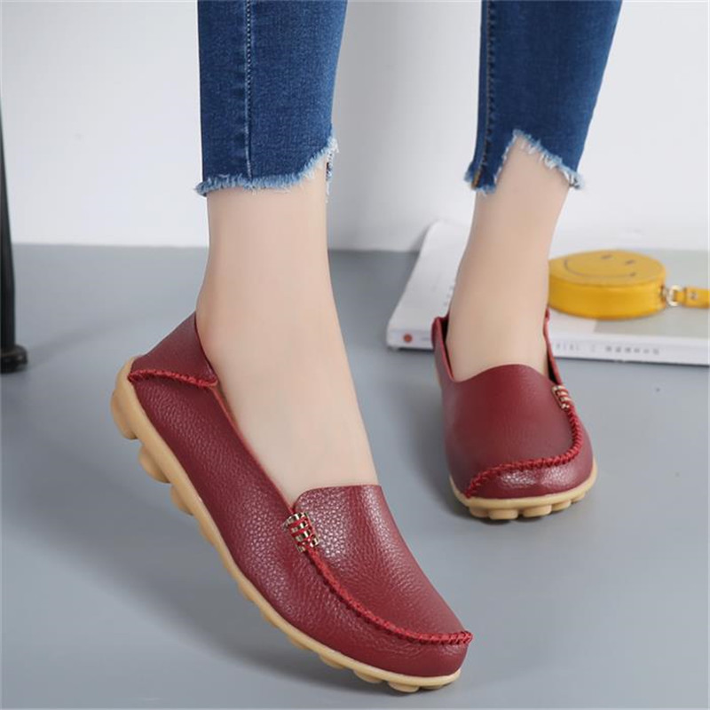Women shoes 2018 new fashion casual solid flats shoes breathable leisure moccasins loafers ladies flats mother shoes woman 2017 summer new women fashion leather nurse teacher flats moccasins comfortable woman shoes cut outs leisure flat woman casual s