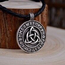 HUIDANG 1pcs Norse Vikings Amulet Pendant Necklace Legendary Viking Trinitarian Trinity Triquetra Celttics