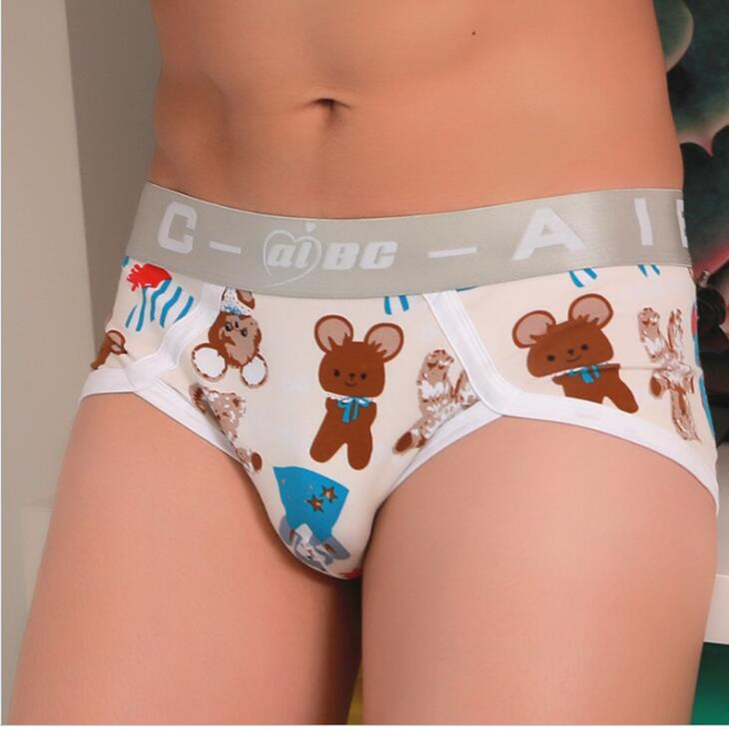 Aibc Mens Cartoon Briefs Low Waist Men Printed Sheer Bulge Underwear Penis Pouch Funny Animal Cotton Panties Seamless Breathable