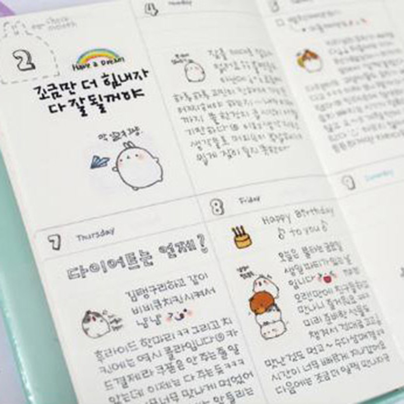 molang rabbit planner agenda scheduler cute diary any year 2018 2019 calendar pocket journal kawaii study notebook gift in notebooks from office school