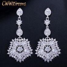 CWWZircons marka musujące sześciennych tlenku cyrkonu Party kostium biżuteria przesadzone długie duży kwiat spadek kolczyki dla kobiet CZ253