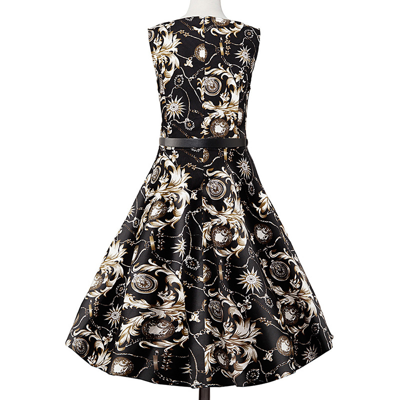 Kostlish Elegant Print Women Summer Dress Sleeveless Cotton Hepburn 50s 60s Vintage Dress With Belt Casual A-Line Ladies Dresses (20)