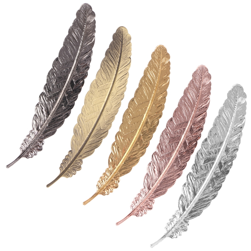 Creative Retro Feather Shaped Metal Bookmark Page Marker For Books Office School