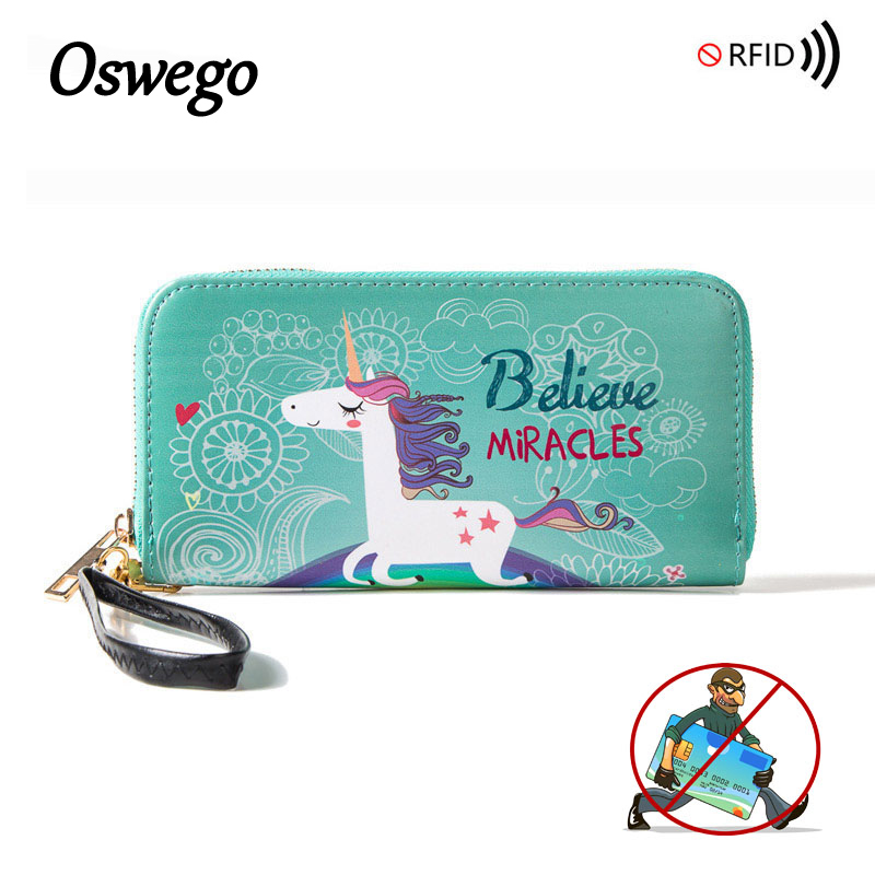 Oswego Cartoon Animal Unicornio Prints RFID Women Wallet Zipper PU Leather Female Purse Protable Money ID Card Holder Purse