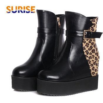 Size 47 Women Platform Ankle Boots Height Increasing Flat High Heel Leopard Flock PU Leather Round Toe Buckle Zipper Short Boots