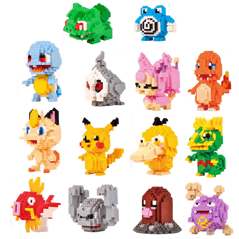 Funny cartoon game image micro diamond building block Pikachu Psyduck Charmander Meowth Magikarp Geodude nanoblock bricks toys