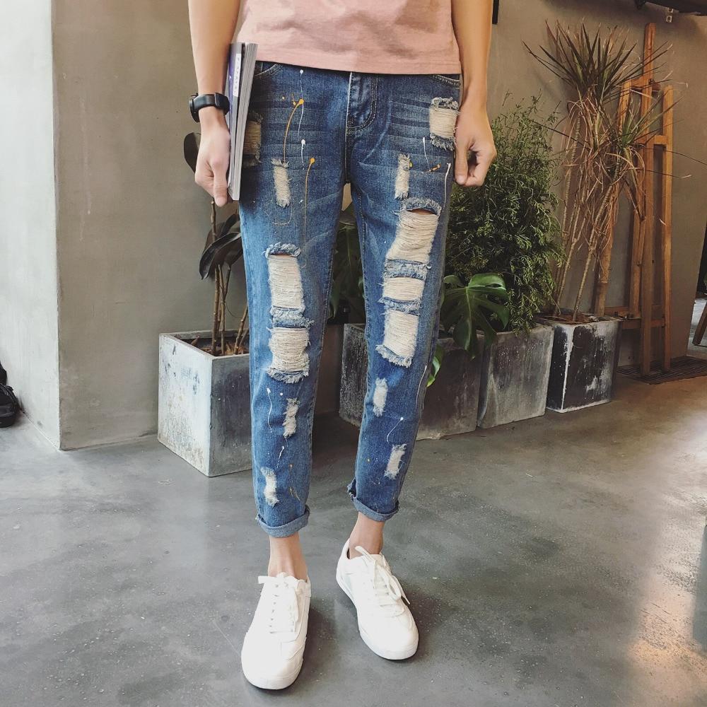 Classic Jeans Men Quality Cotton Slim Fit Men Casual Ripped Jeans Denim Pants Men Ankle Length Hole Design Mens Trousers 27-36