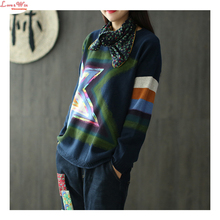 Glittering Colored Stars Womens Long Knitting Pullovers Quality Casual Young Perfect Neutral Sweaters