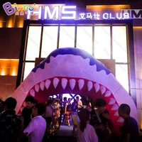 6.5x4 Meters inflatable fat shark head entrance arch for Ocean theme welcome door customized size