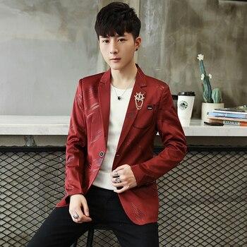 2019年新款时尚休闲男士西装外套纯棉修身韩版风格西装外套男士西服男西装外套西装外套男士M-3XL红色白色女士西班牙风格西装2019年