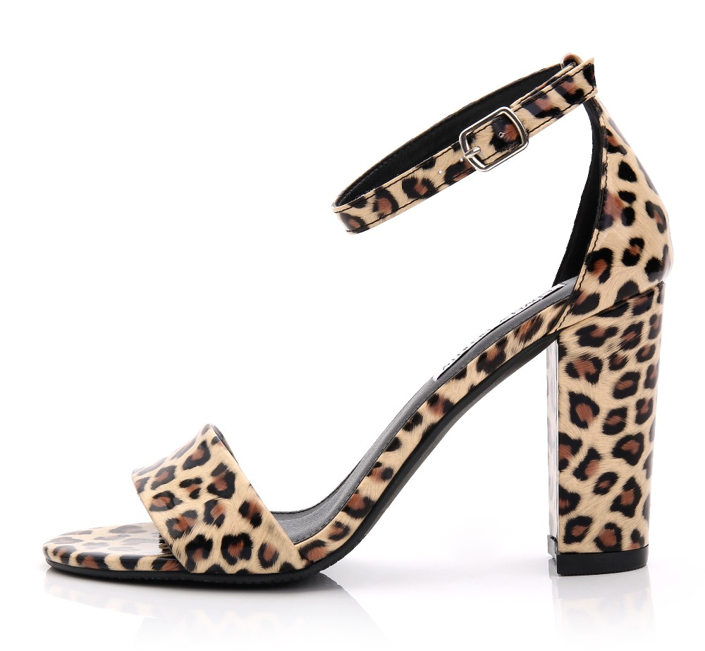 36500f28ba2 Gladiator Women fashion Sandals Plus Szie 41 10 Sexy Leopard Print Block  Heel Rome High Heel Women s Sandals