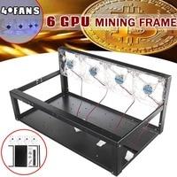 LEORY HOT 6 GPU Mining Rig Iron Case 4 x Transparent Blue Fans 6 x GPU Slots Open Air Frame For ETH/ZEC/Bitcoin