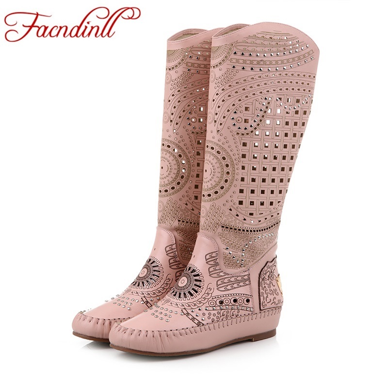 FACNDINLL fashion genuine leather spring summer autumn high boots metal knee high boots shoes woman cut-outs casual boots shoes facndinll genuine leather sandals for