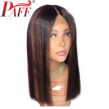 PAFF Straight 13*6 Deep Lace Front Wigs Human Hair Highlight Color With Baby 150% Density Malaysia Remy Pre Plucked