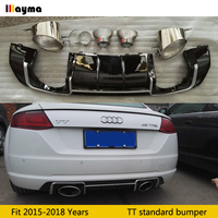 TTRS style PP Rear bumper Lip Diffuser With Stainless steel Exhaust Tips For Audi TT Standard bumper MK3 2015 2018 year 7 piece