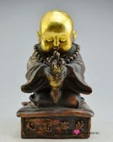 Chinese Boutique collection pure copper carving The little monk statue