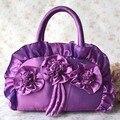 2016 новый ретро волна женская сумка Корейской моды ткани цветок мешок руки мешок ручки в шелк