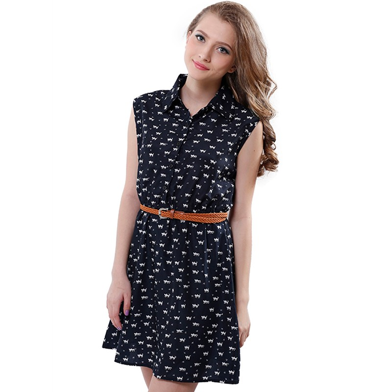 Softu Hot Sale Women's Fashion Summer Casual Shirts Dress Sleeveless Tank Knee Length A Line Dress Cat Printed Dresses With Belt 5
