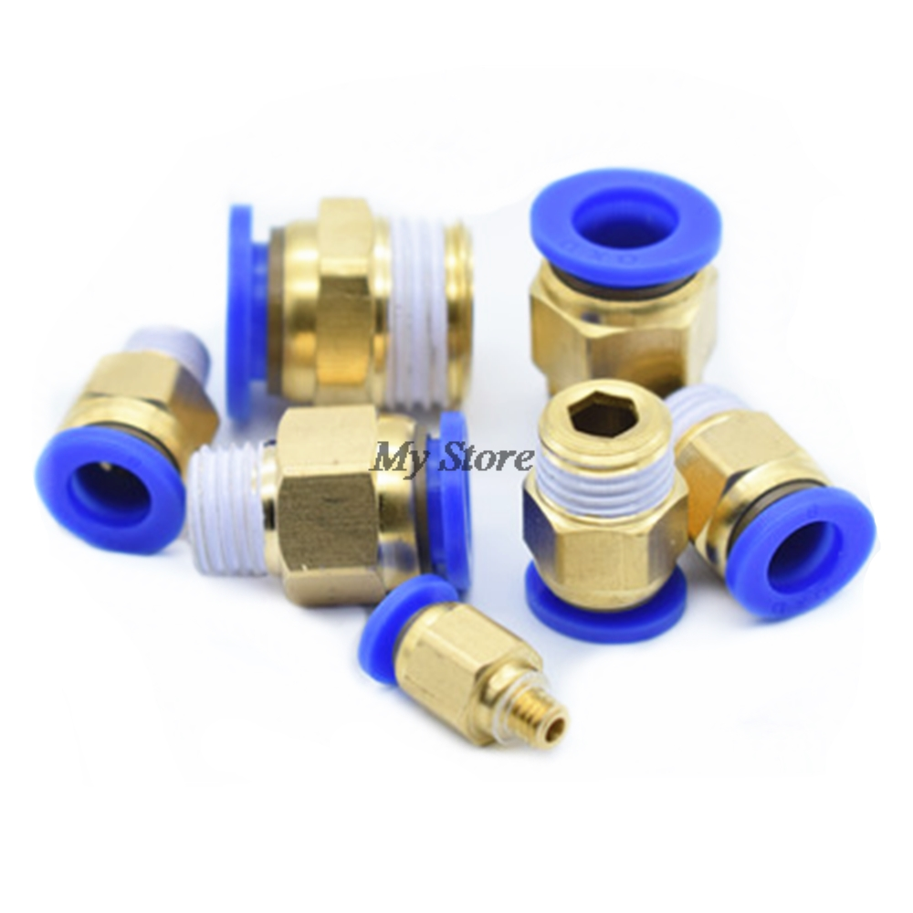 1/8'' 1/4'' 3/8'' 1/2'' Male-4 6 8 10 12mm Straight Push in Fitting Pneumatic Push to Connect Air 5 x pneumatic push in tube fitting branch t union 10mm to center male 1 4 bsp
