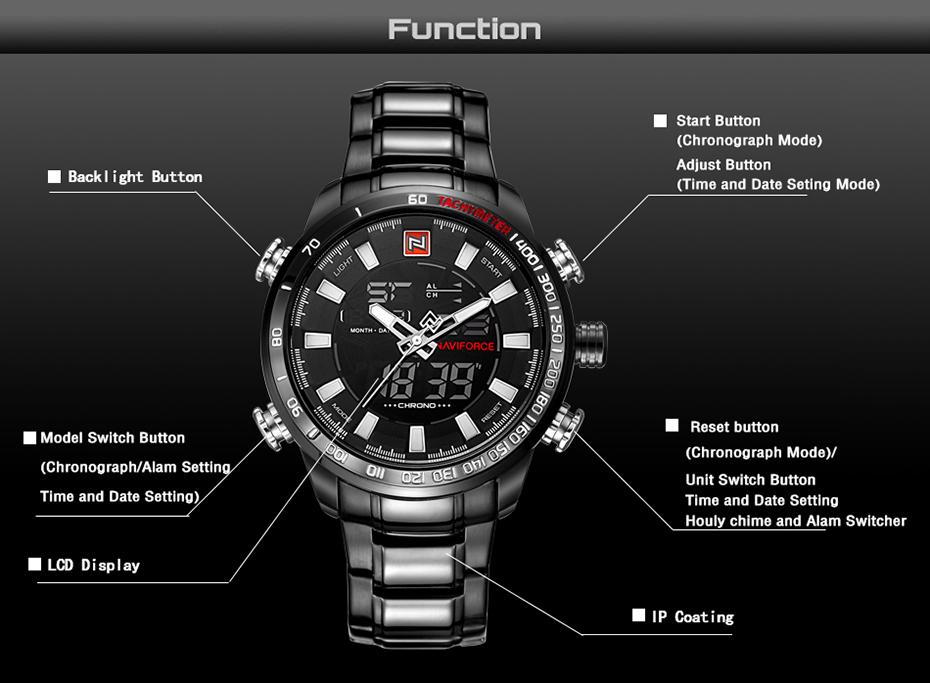 Naviforce Montre de sport à quartz analogique numérique avec alarme, date, chronomètre