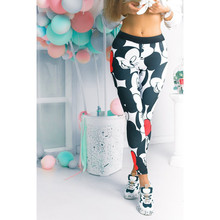 Mickey Minnie High Waist Solid Casual Leggings Women 2019 Spring Autumn Stretchy Fitness Midi Skinny Basics Crop