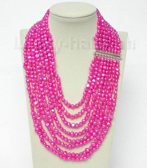 """Venda Hot new Style >>>>> 17 """"-24"""" 8row barroco colar de pérolas rosa escuro 925 fecho de prata j8780"""