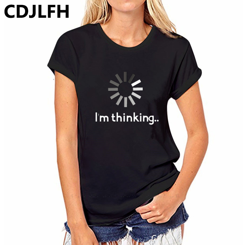 CDJLFH 2018 Summer Women T-shirt Short Print Letter Casual T Shirt Black Letter Tops Tee Funny Woman Tshirt Top O-Neck T Shirts