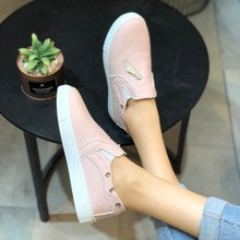 купить Europe 2019 NEW Women Shoes Loafers Canvas Fashion Casual Flats Shoes Woman Zipper Slip-On Low Help Ladies Shoes Plus Size 35-43 по цене 966.84 рублей
