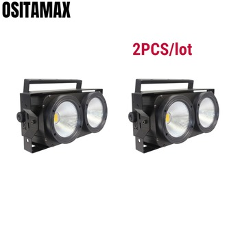 2 unids/lote LED COB luz cegadora 2x100w matriz público luz blanco cálido blanco frío sonido activo para Fiesta disco Iglesia TV