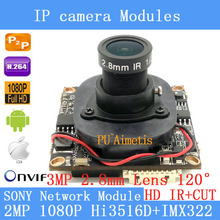 "Sony ipc hi3516d imx322 1920×1080 p 1/2. 8 ""Placa do Módulo de Câmera 2.0MP IP 3MP 2.8mm 120 Grande-angular de Segurança Camera + HD IR-CUT"