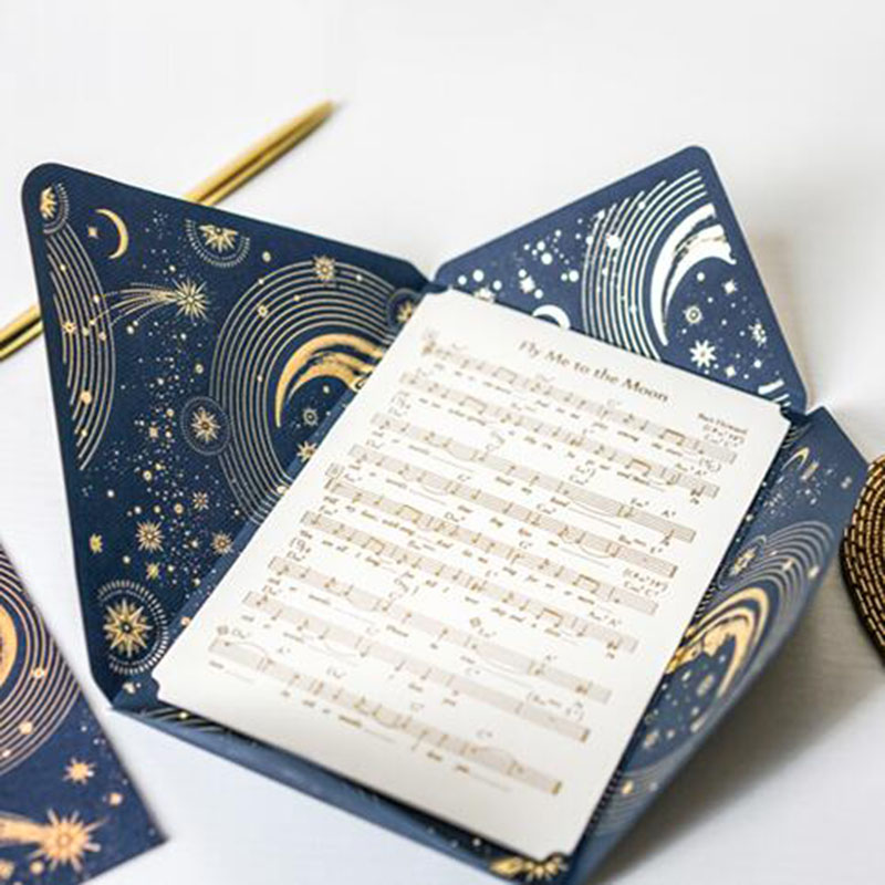 Romantic Star Greeting Card Constellation Moon Gift Wedding Oath Card With Paper Envelopes