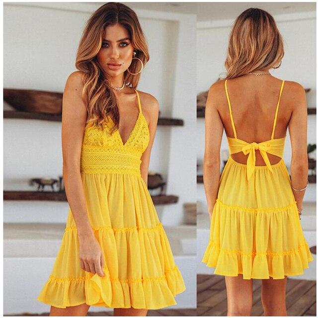 2019 Summer New Fashion Dress Solid Sleeveless Sexy Deep V Strap Dresses Ruffled Back Bow Mini Elegant Prom Female Vestidos 092 4