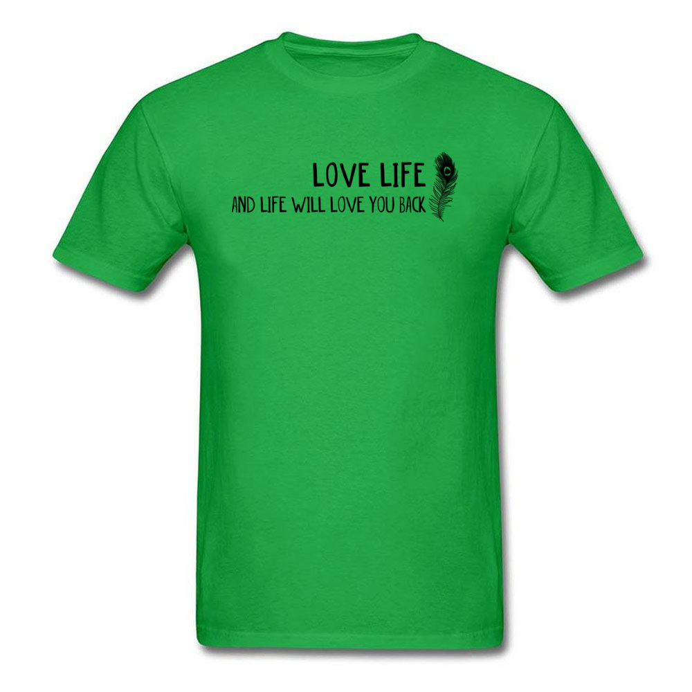 2018 New Men Tees Love Life Words T Shirt All Cotton Short Sleeve Normal Tee-Shirts Crew Neck Top Quality Clothing Shirt