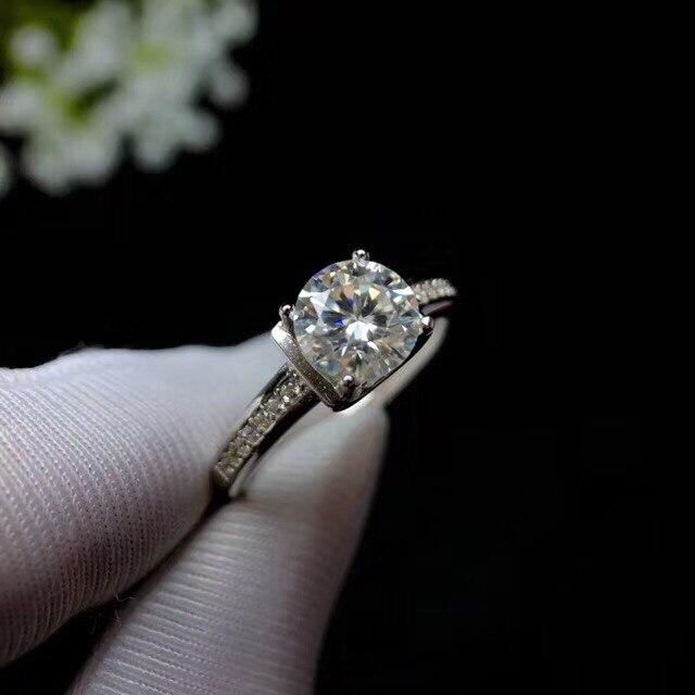 Mossanita, diseño de moda de plata 925, color de fuego fuerte, diamante, alta dureza 1.2ct - 5
