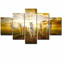 Running Horses Scenery Wall Art Modular Pictures Sunset Animal Landscape Paintings On The Wall Unframed For