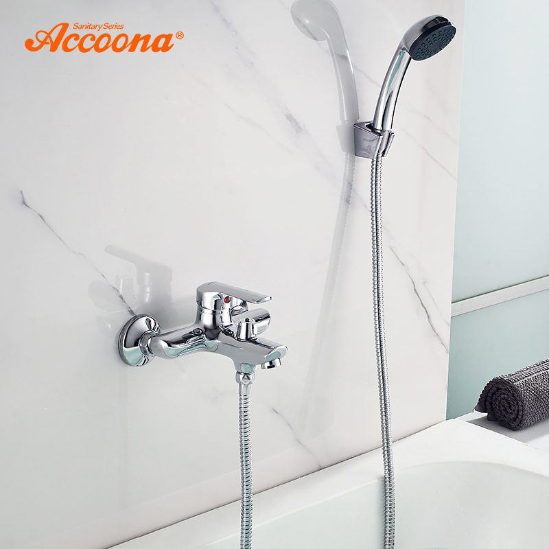 Accoona Bathtub Faucet Outlet Wall Mounted Bath  Single Handle Shower Faucets Mixer Tap Chrome Finished Brass 2-Function A6368