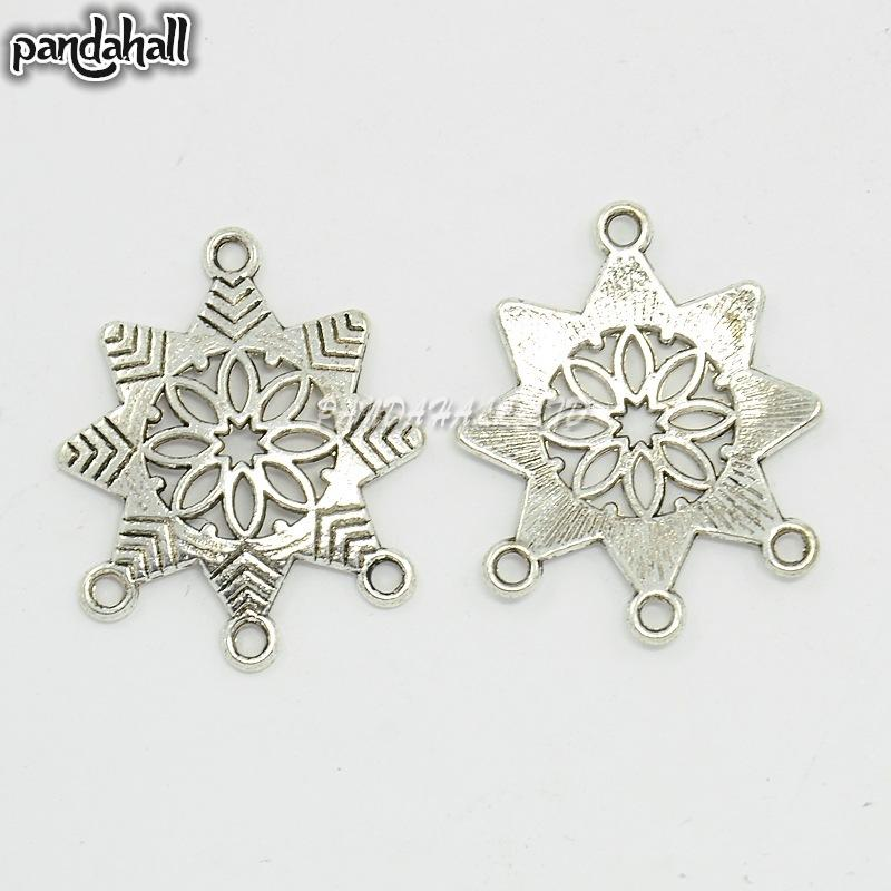 Chandelier Component, Alloy Links, Antique Silver, Snowflake, 31mm long, 26mm wide, 2mm thick, hole: 2mm