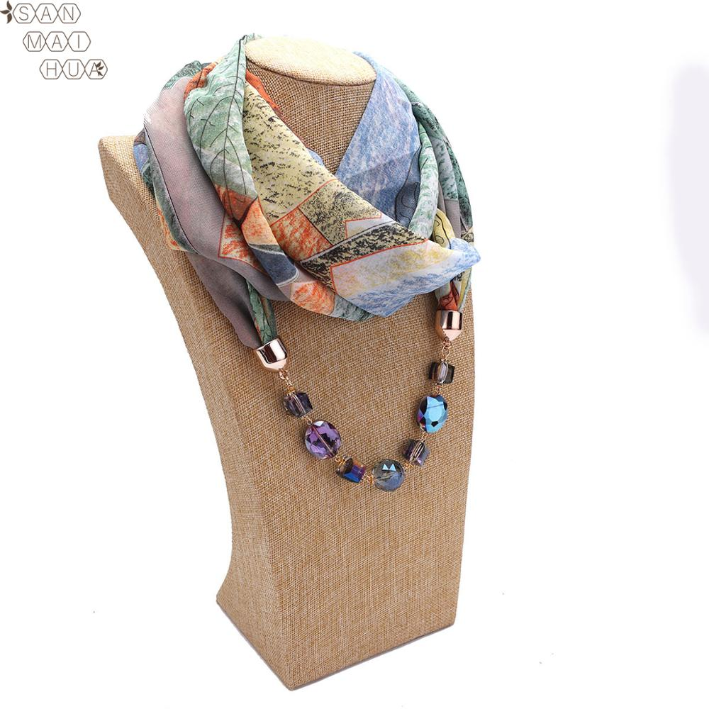 Boho Women's Fashion  Jewelry Pendant Necklace Scarf Female Chiffon Shawls And Wraps Femme Foulard Muslim Wrap Head Scarves