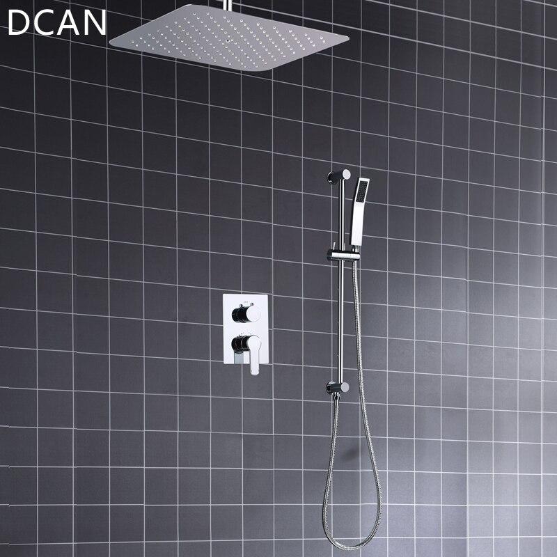 Ультра-тонкий 16 дюймов 400x400 мм Diverter Air Pressurize высокое давление дождь Душ квадратный зеркальный смеситель для ванной верхний душ система