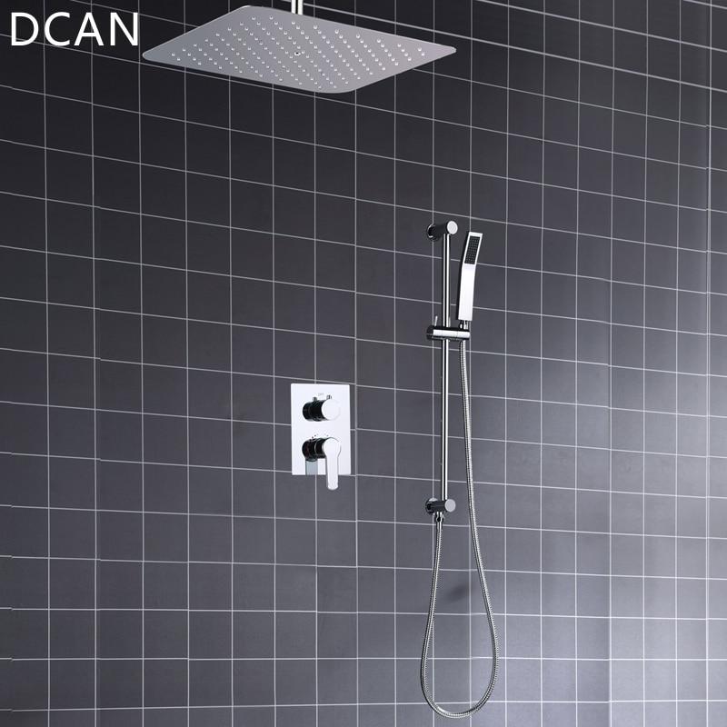 Ultra-thin 16 Inche 400x400mm Diverter Air Pressurize High Pressure Rain Shower Square Mirror Bath Faucet Overhead Shower System