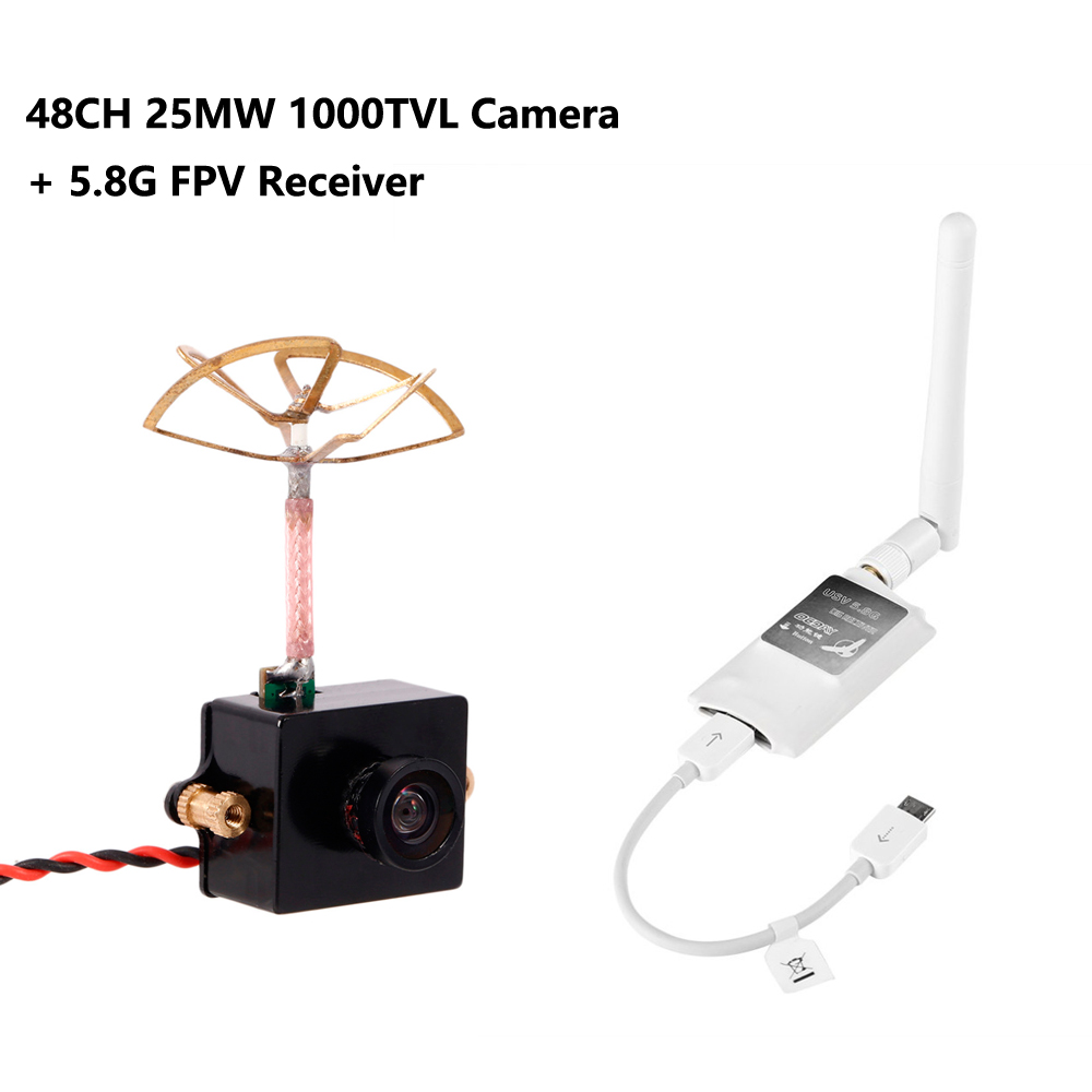 1/lot OCDAY Mini 5.8G FPV Receiver UVC Video Downlink OTG VR + 5.8G 48CH 25MW 1000TVL FPV Camera Built-in Transmitter 1pcs ocday 5 8g mini 150ch fpv receiver uvc video downlink for otg vr android phone rc drone quadcopter compact size